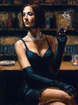 Фабиан Перез (Fabian Perez). Brunette at The bar.